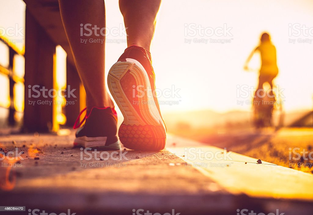 Closeup shot of runner's shoes stock photo