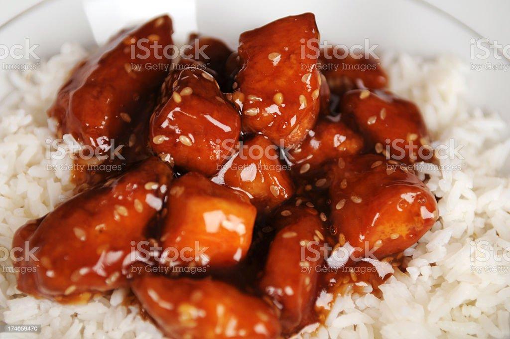 Closeup shot of sesame chicken royalty-free stock photo