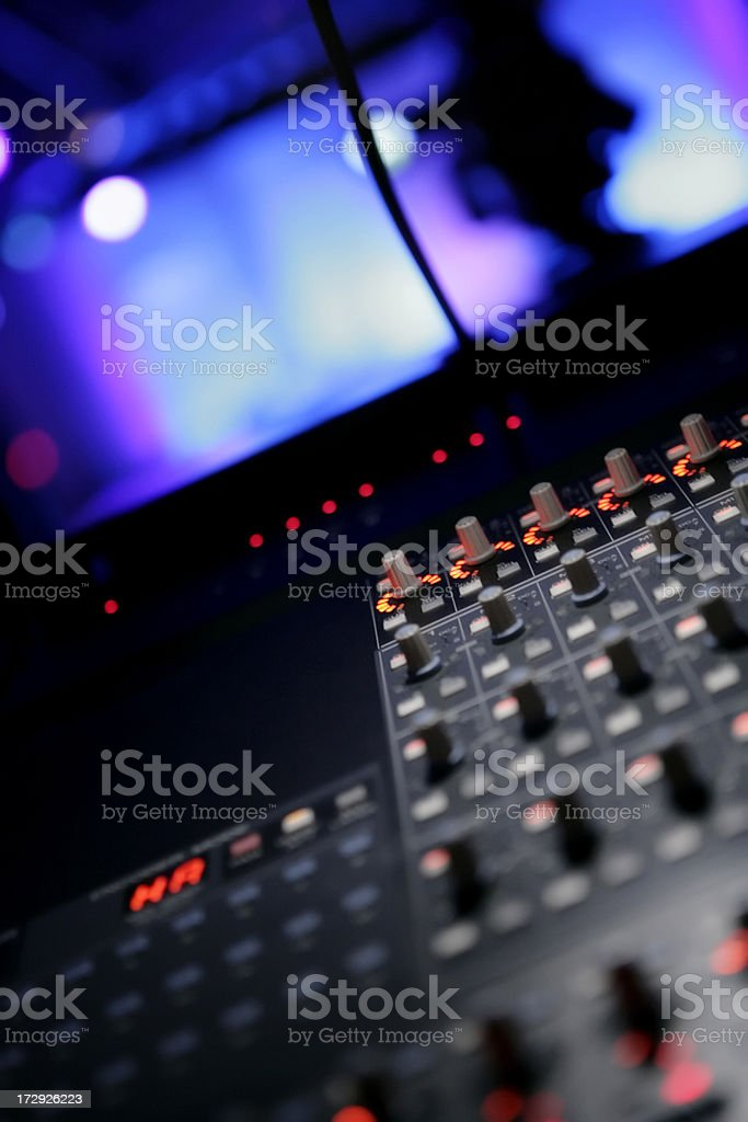 Close-up shot of Sound board stock photo