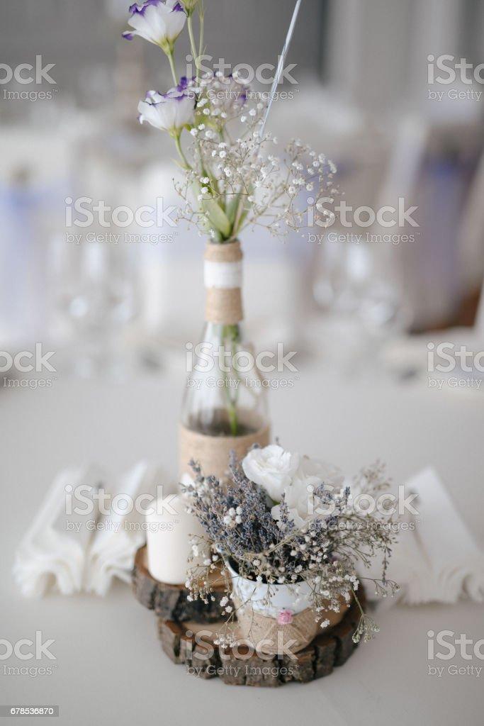 Closeup shot of the wedding decoration elements  at daylight stock photo