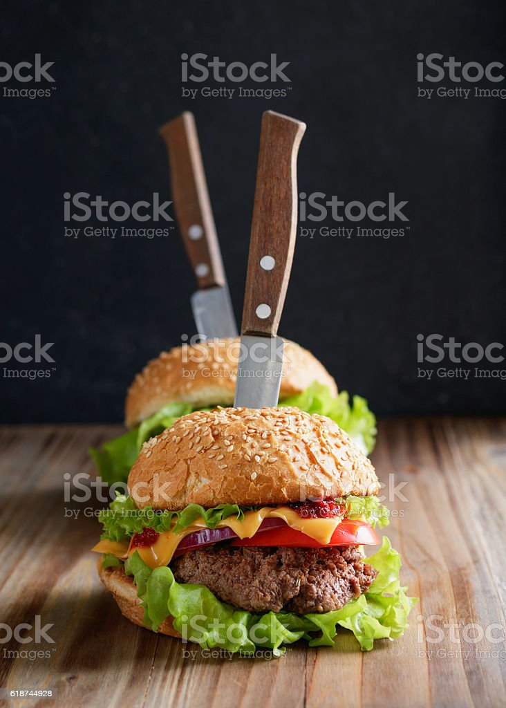 Close-up shot of two burgers stock photo