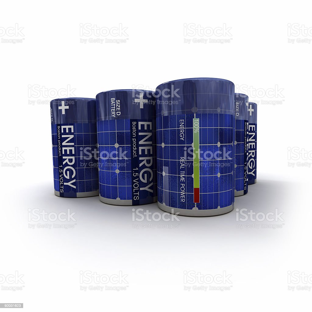 Close-up shot on solar rechargeable batteries royalty-free stock photo