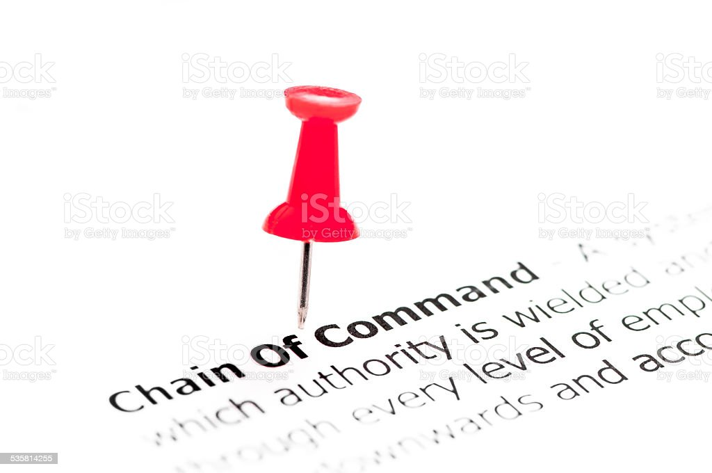 Closeup shot over words Chain of Command on paper stock photo
