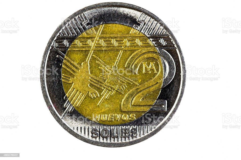 Closeup Shot Peru Two Soles Coin Head Side stock photo