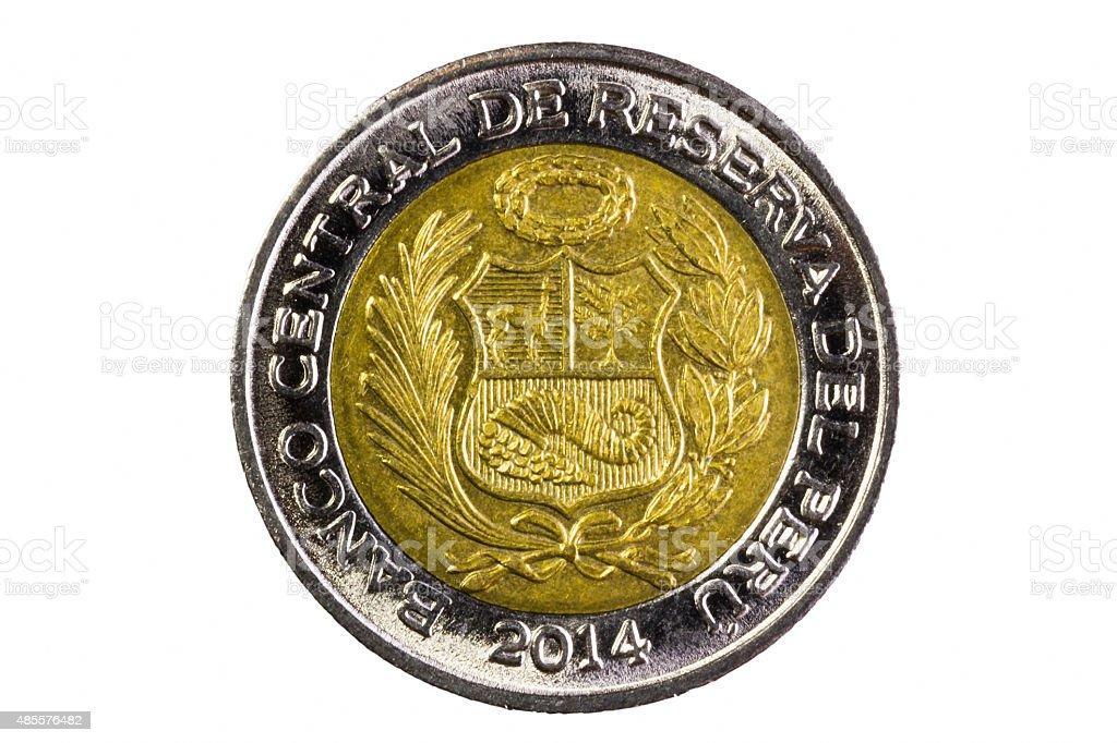 Closeup Shot Peru Two Soles Coin Tail Side stock photo