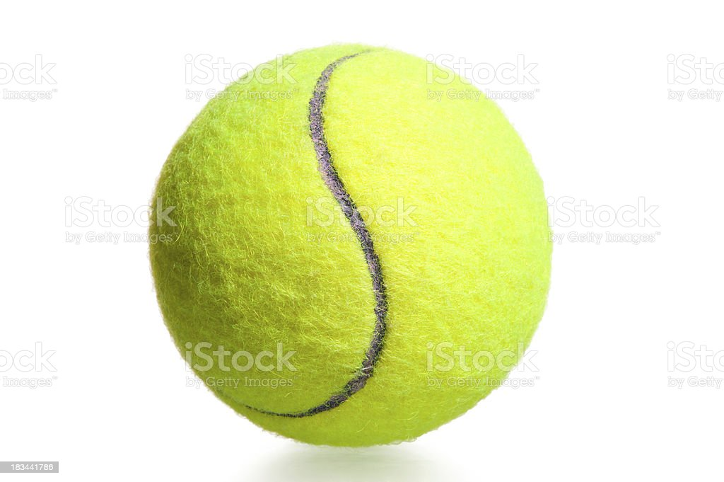 close-up shot yellow tennis ball on a white background royalty-free stock photo