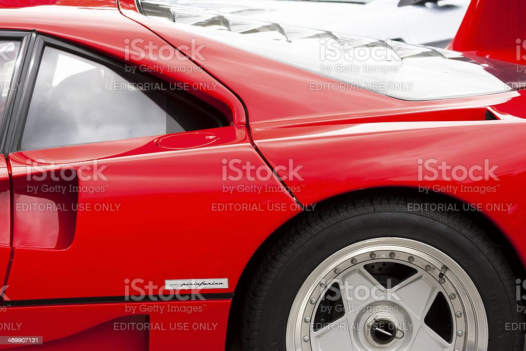 Closeup side view of Red Ferrari F40 with alloy wheel stock photo