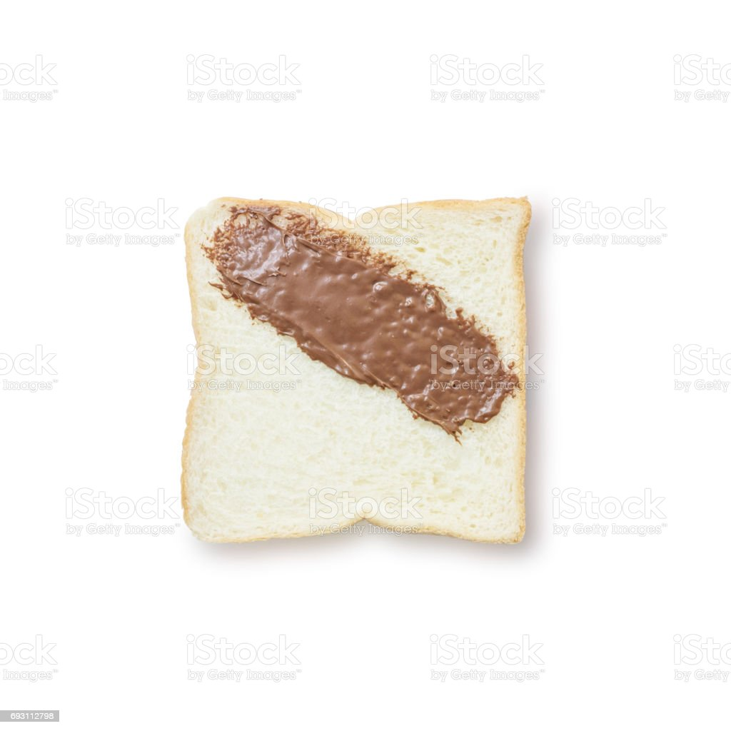 Closeup slice bread with chocolate for breakfast with shadow isolated on white background stock photo