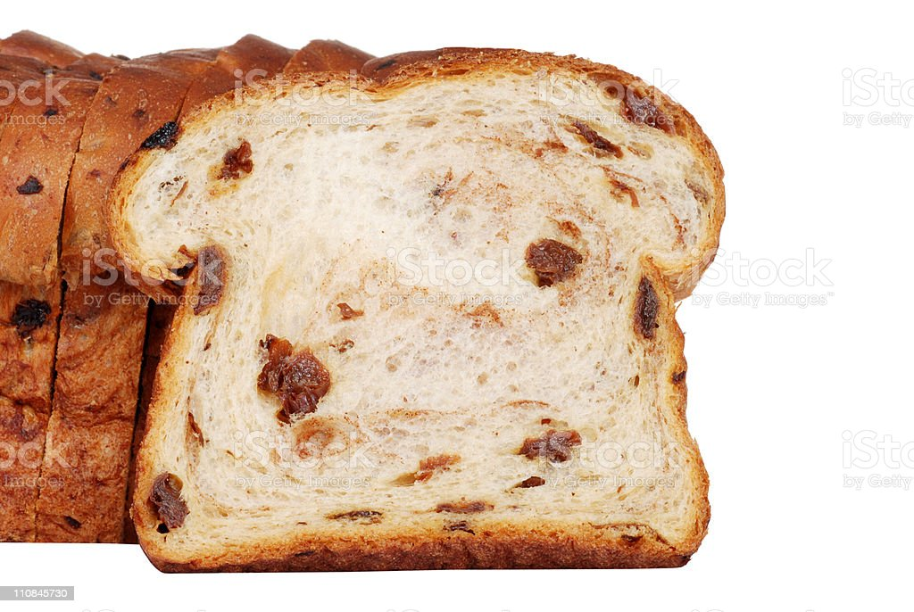 closeup slice of raisin bread stock photo