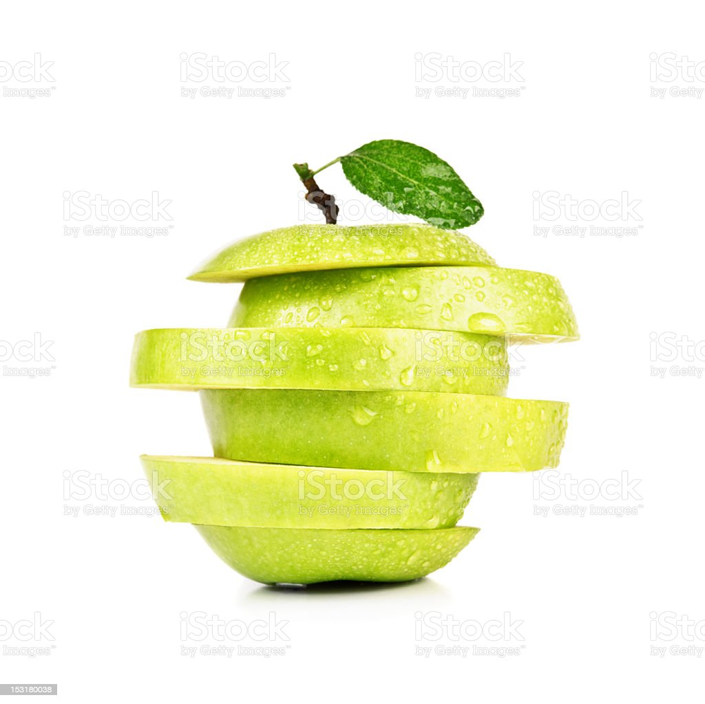 closeup sliced green apple royalty-free stock photo