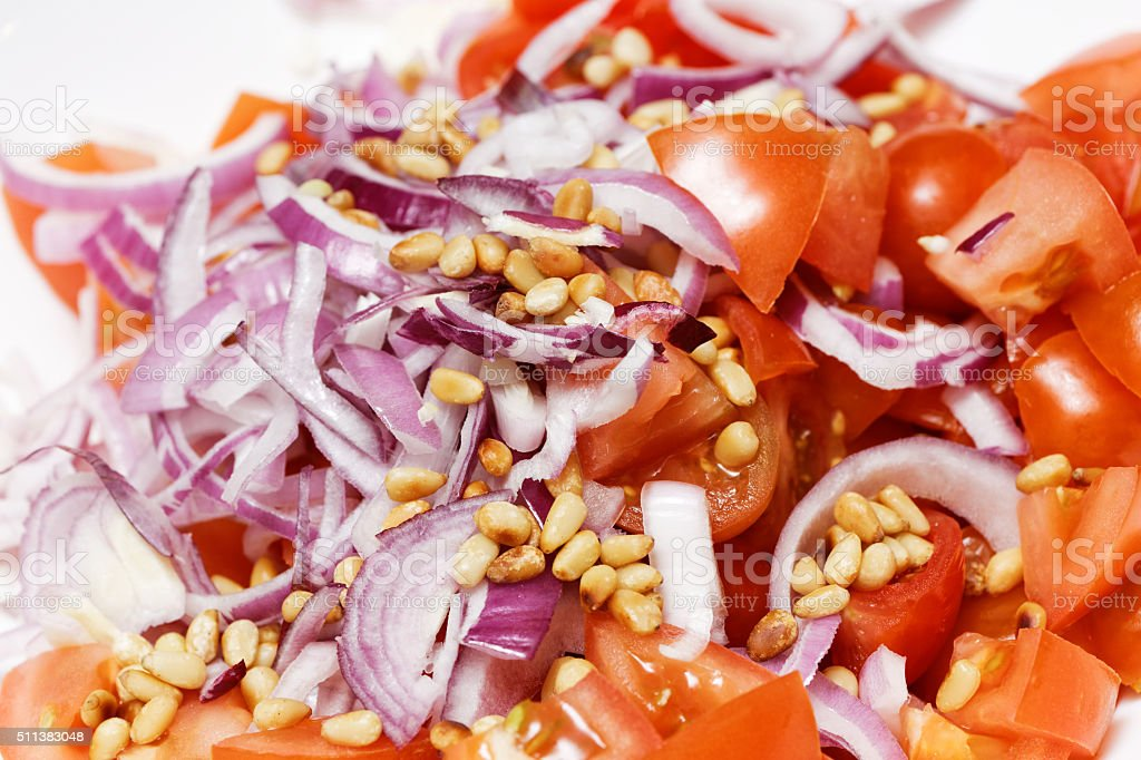 Closeup sliced vegetables for salad stock photo