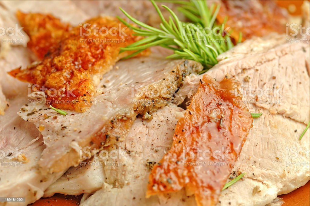 Closeup slices of italian porchetta meat stock photo