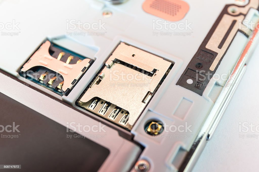 Closeup slot SIM card and slot memory micro SD card stock photo