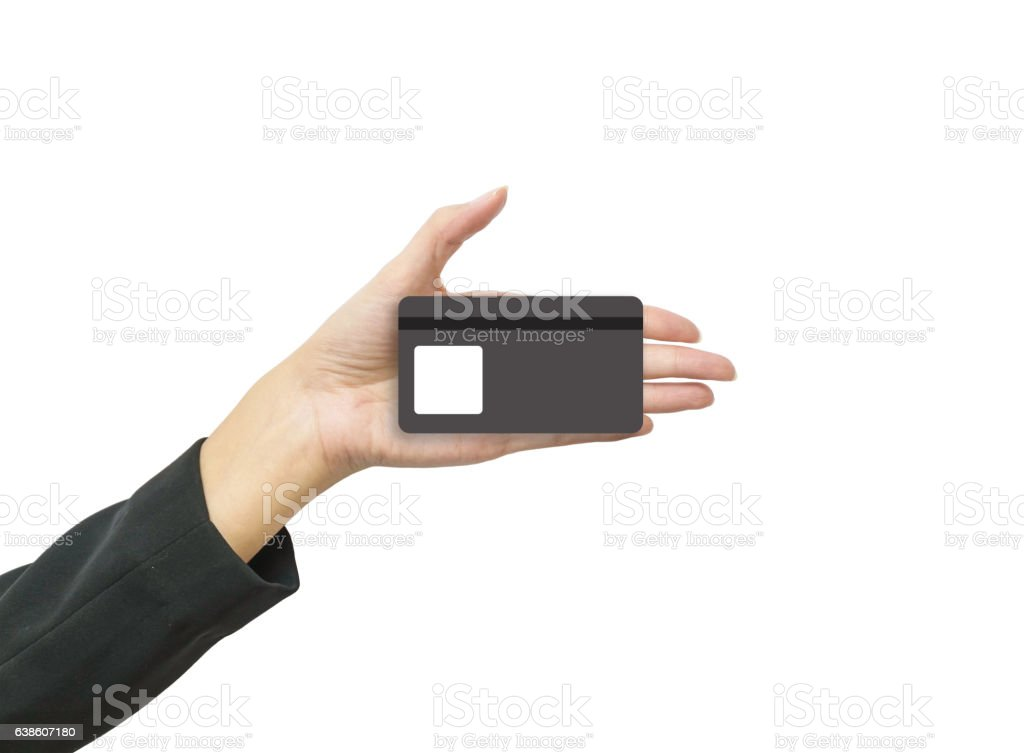 Closeup smart card in woman hand isolated on white background stock photo