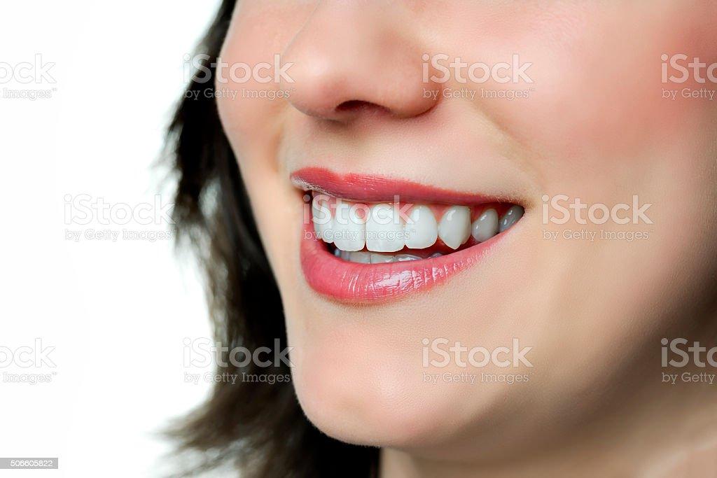 Closeup smiling woman stock photo