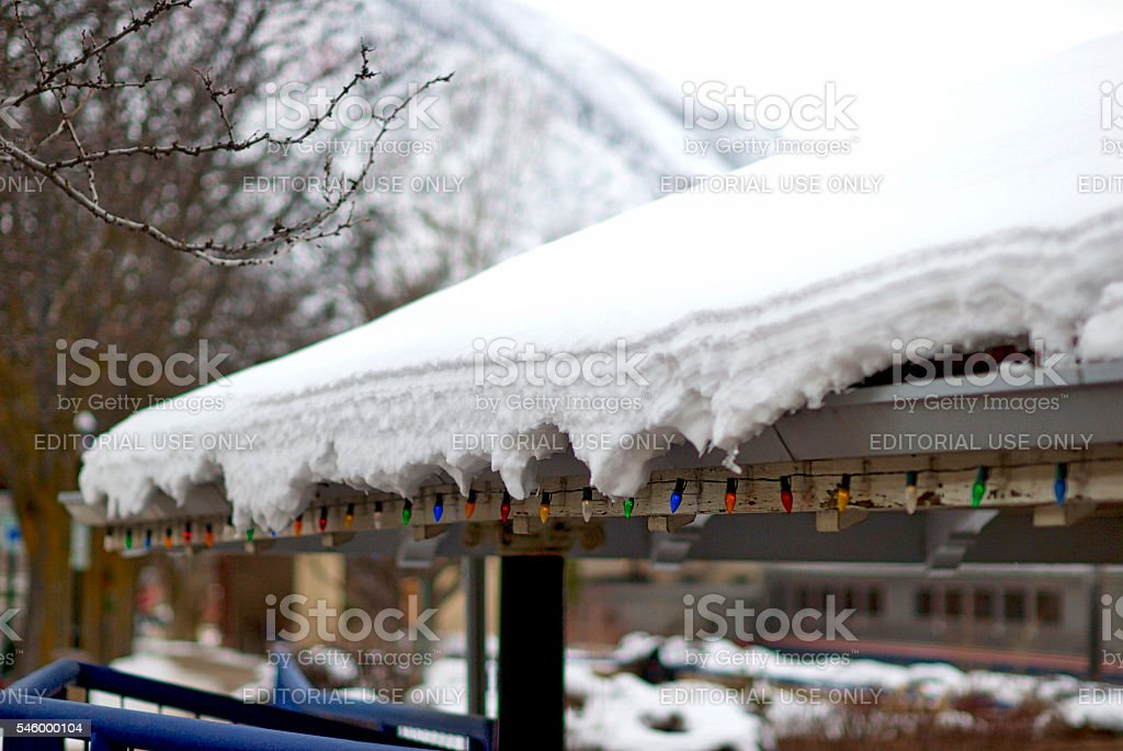 Close-up, Snow on Roof at Amtrak's Glenwood Springs, CO, Station stock photo