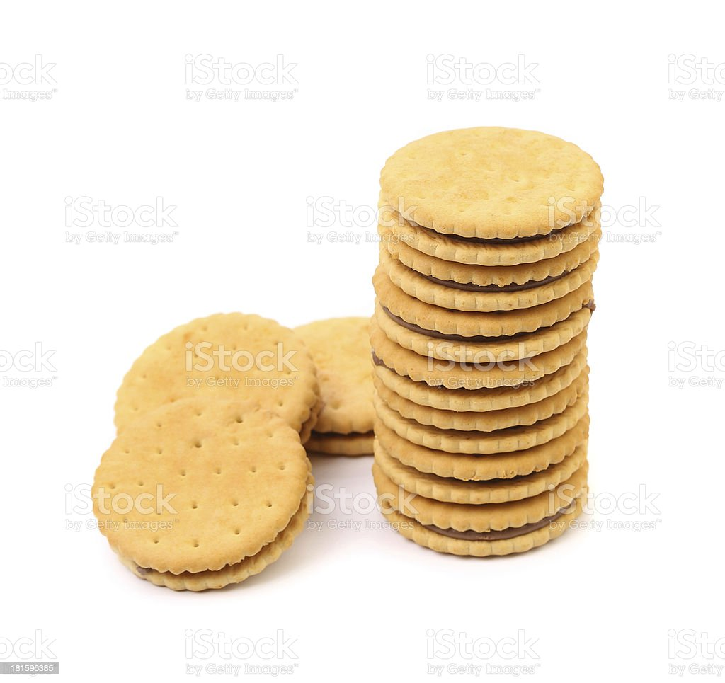 Closeup stack of filled cookies royalty-free stock photo