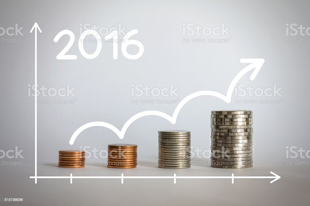 closeup stacks of coins in a growth financial concepts. stock photo