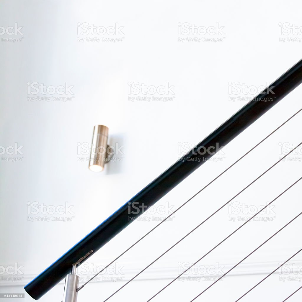 Closeup staircase railing in modern house, architectural background, copy space stock photo