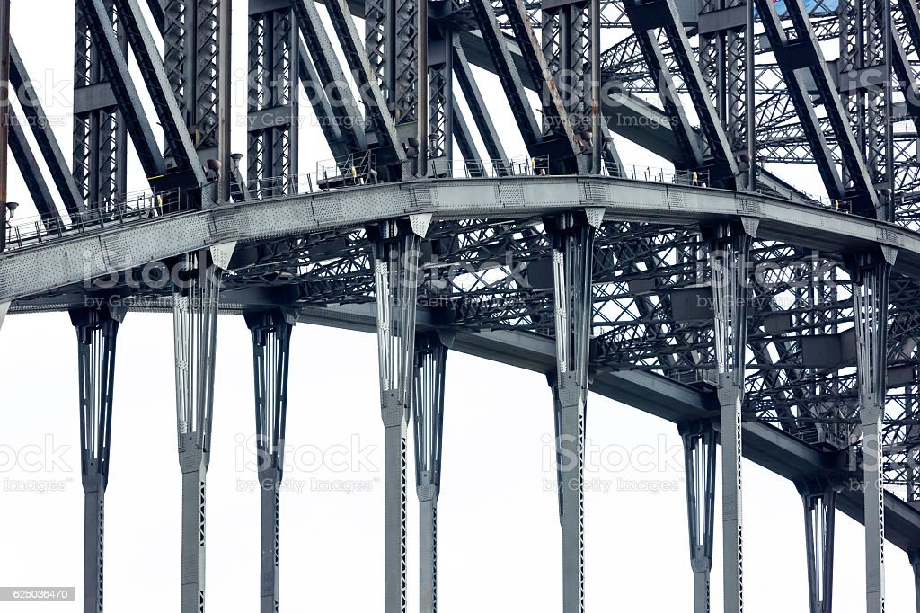 Closeup steel structure of Harbor bridge, background with copy space stock photo