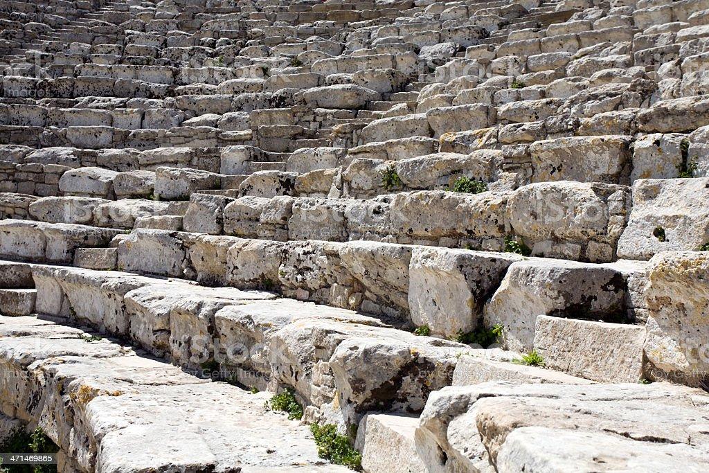 closeup steps of ancient Greek amphitheatre stock photo