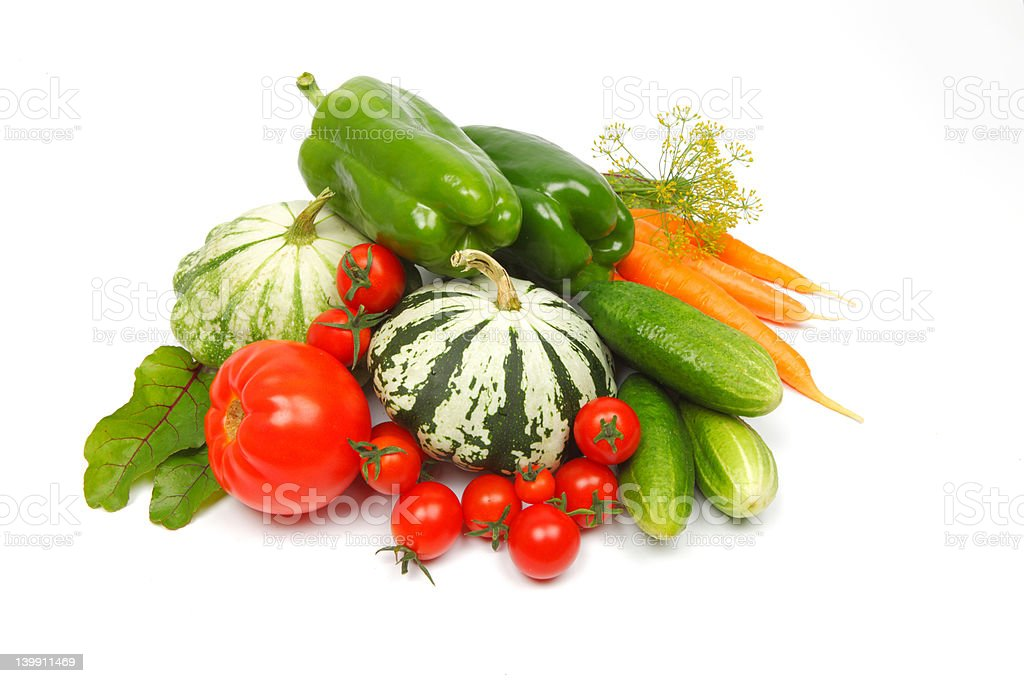 close-up still life with mixed vegetables, isolated on white background royalty-free stock photo