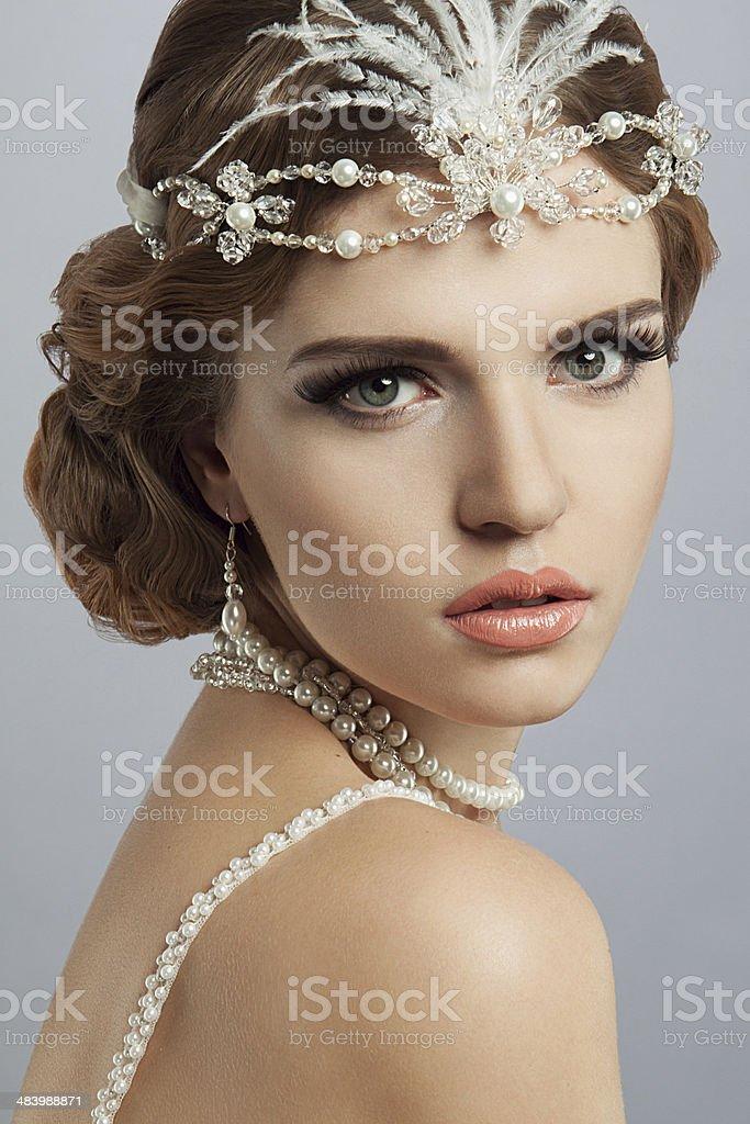 Close-up studio portrait of beautiful woman. stock photo