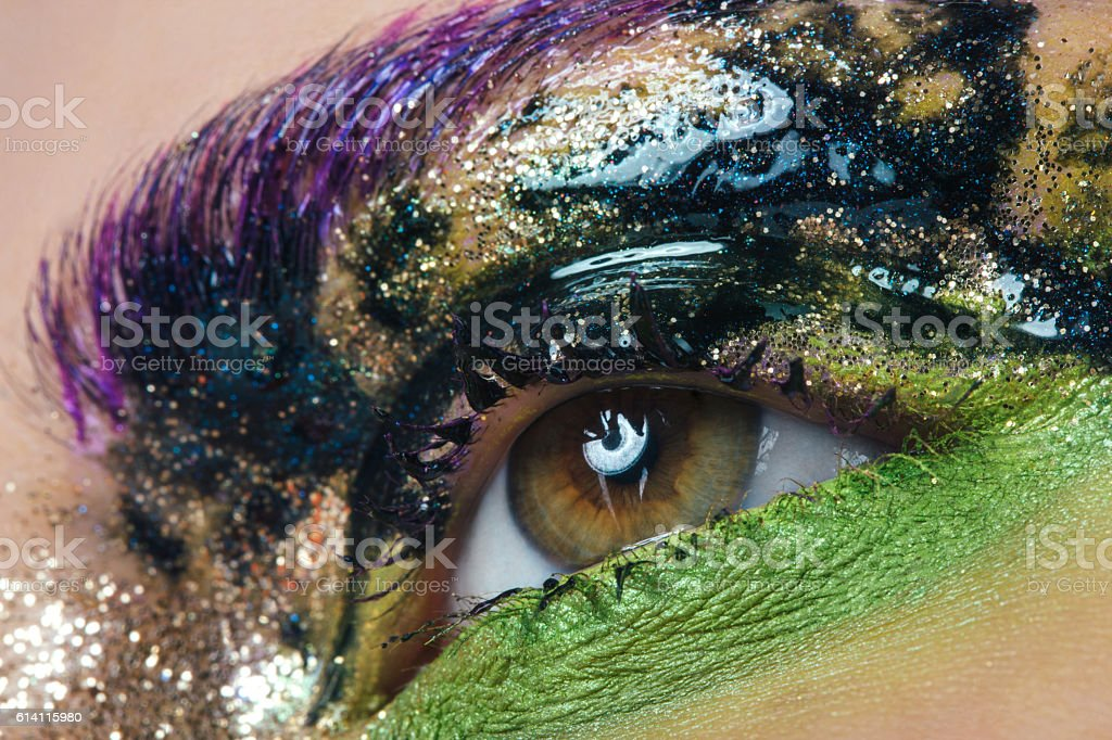 Close-up studio shot of woman eye stock photo