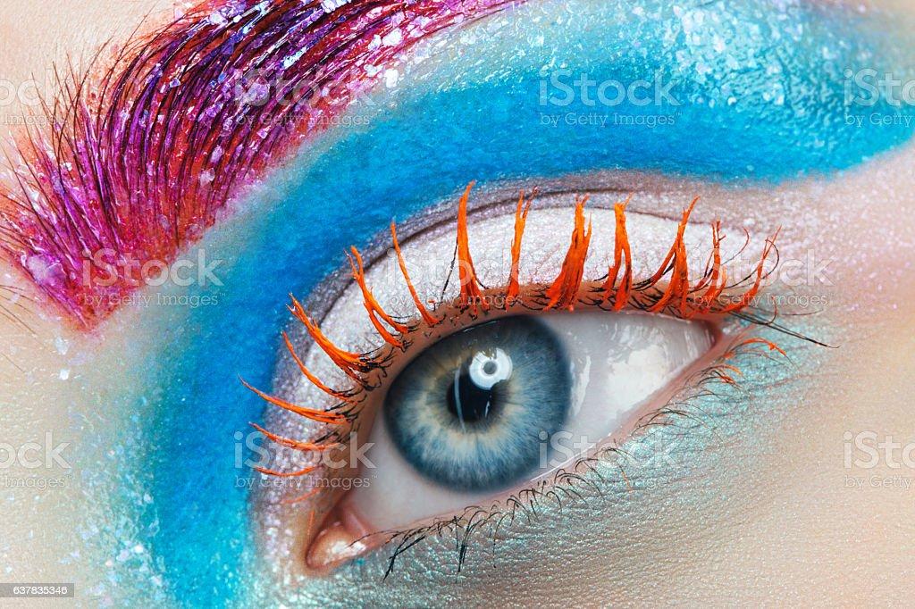Close-up studio shot of woman eye stock photo