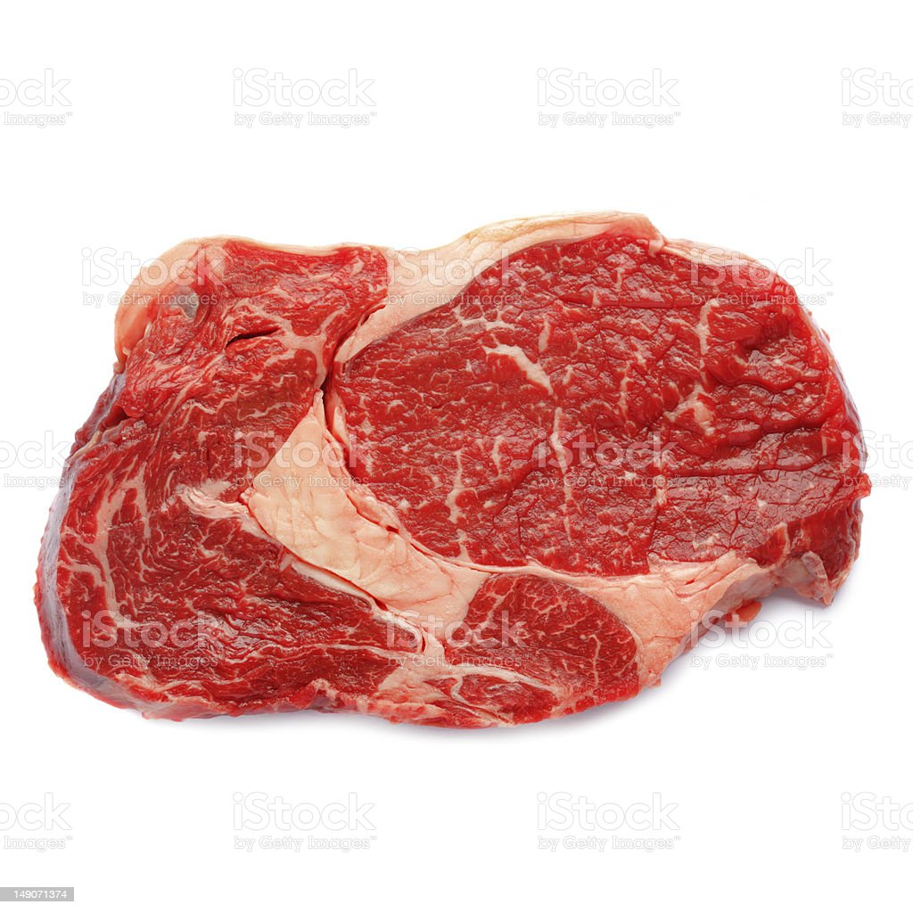 Close-up studio shot raw marbled slice of beef royalty-free stock photo