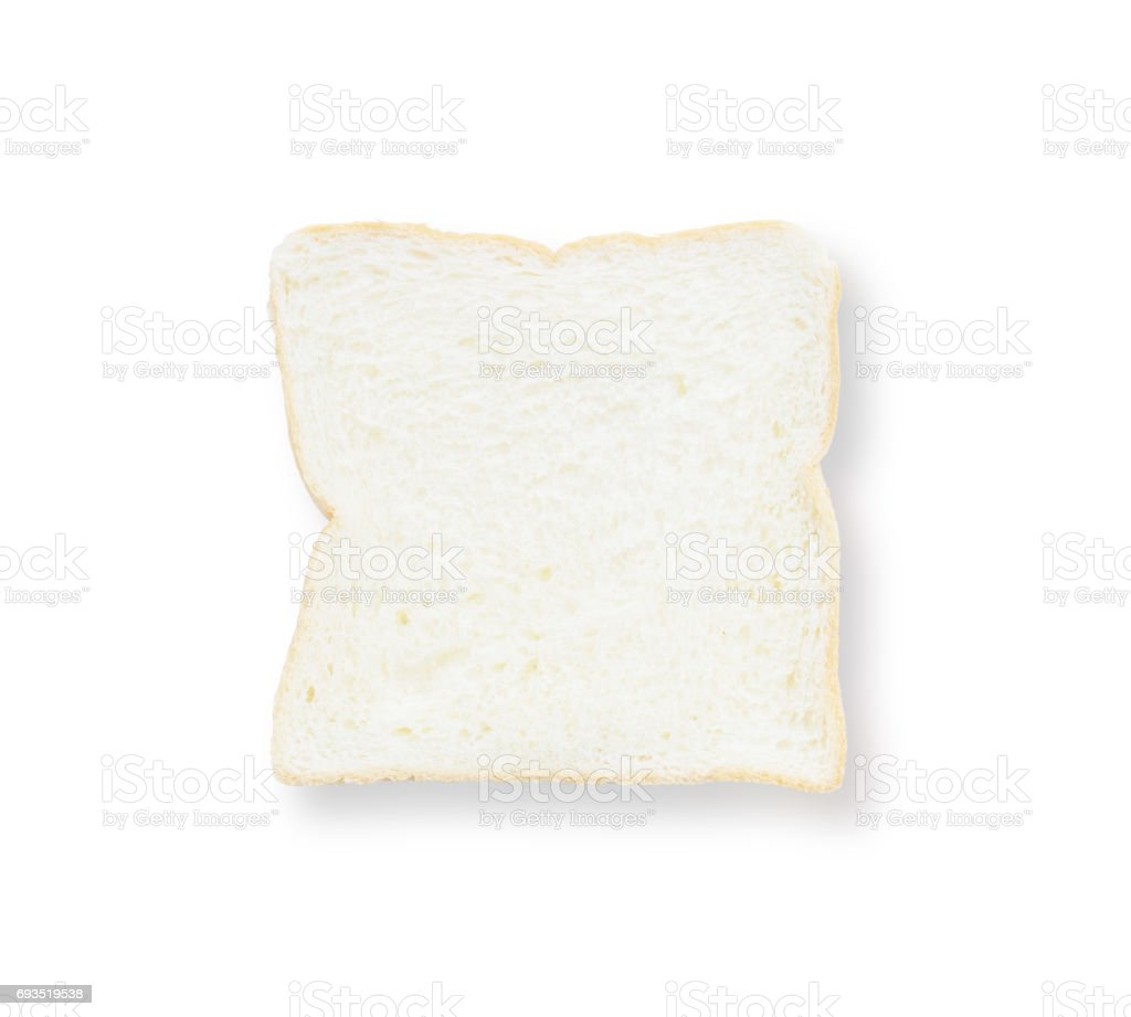 Closeup surface slice bread for breakfast with shadow isolated on white background stock photo