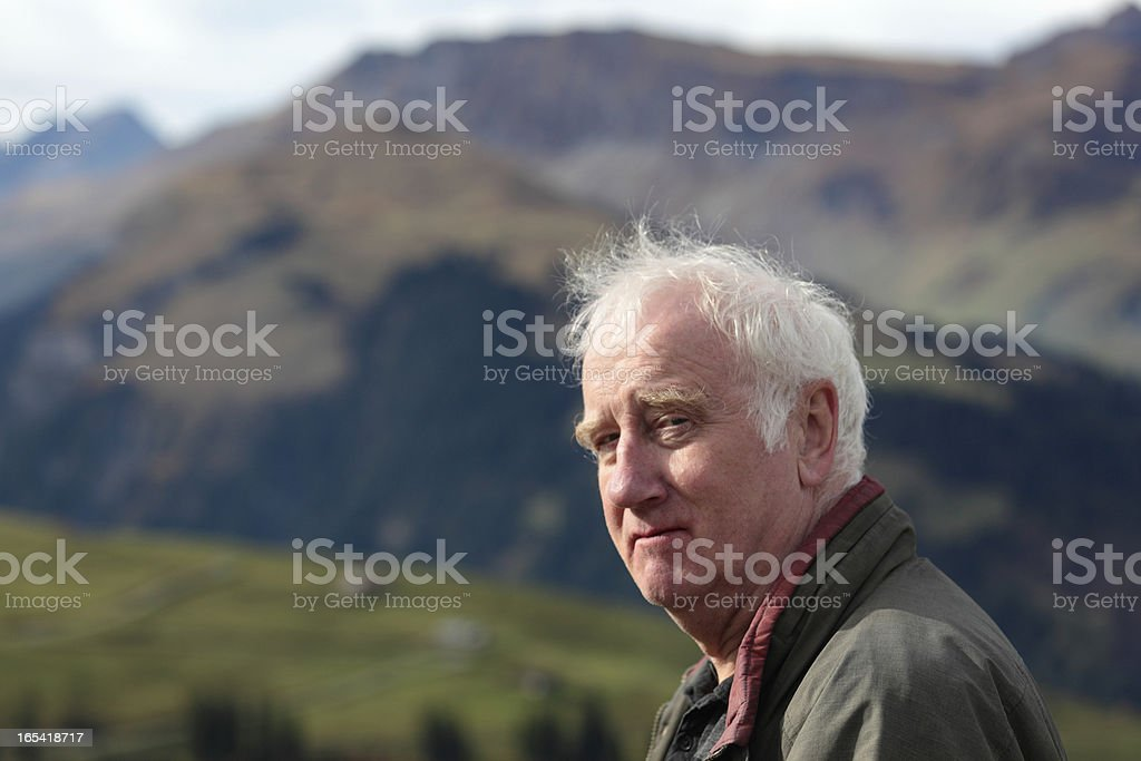 closeup swiss farmer in picturesque bernese alps stock photo