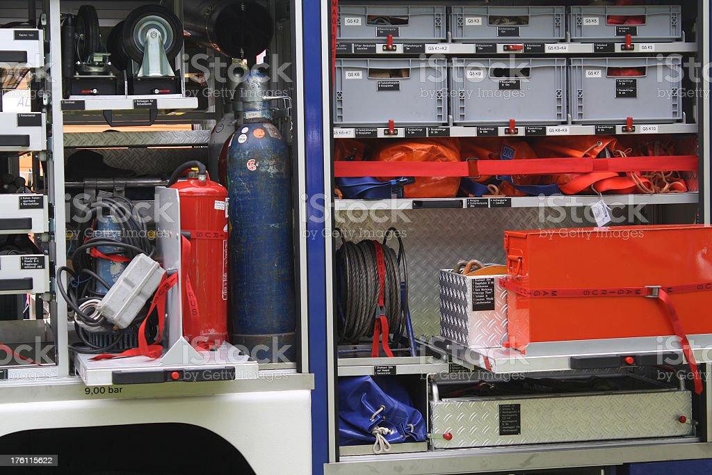 THW - close-up Technisches Hilfswerk Auto von innen stock photo