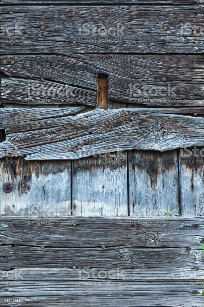 Close-up texture fragment of aged wooden board stock photo