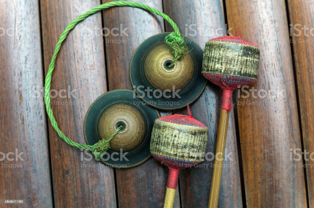 Closeup Thai musical instrument (Alto xylophone) with castanets, stock photo