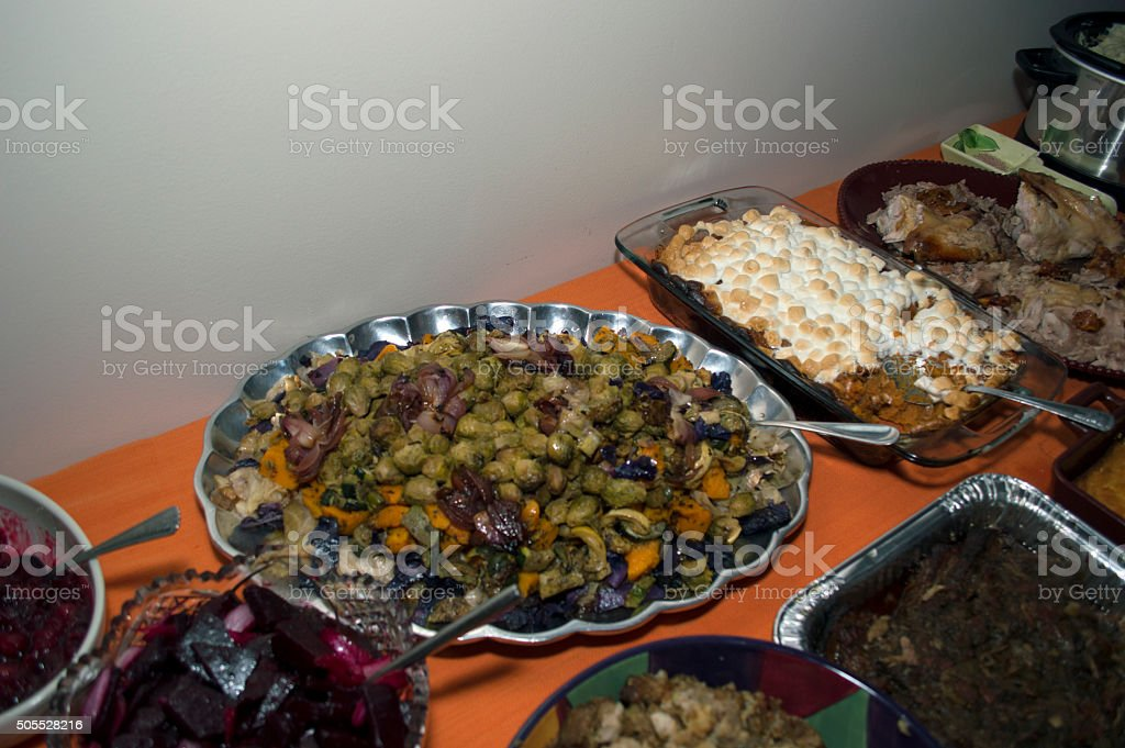 Close-up thanksgiving dishes stock photo