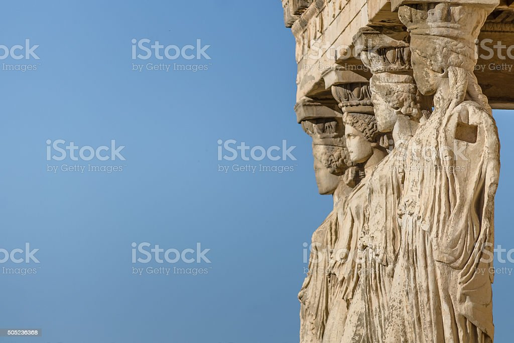 Close-up the Statues of the Caryatids stock photo