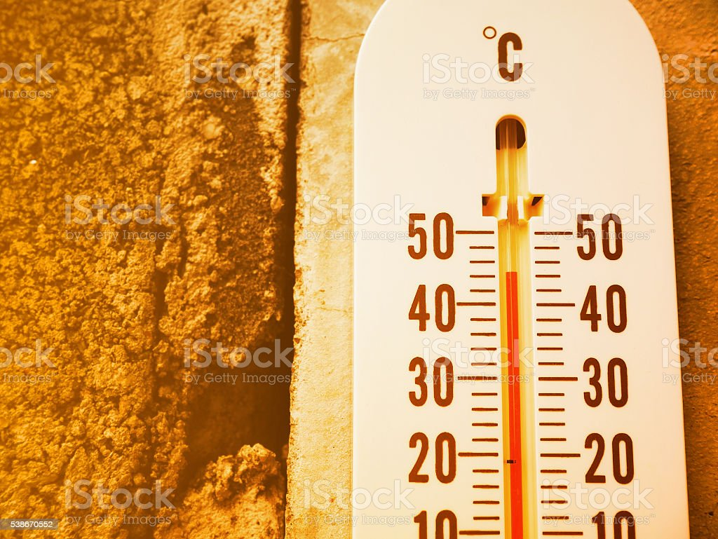 Closeup thermometer showing temperature in degrees Celsius stock photo