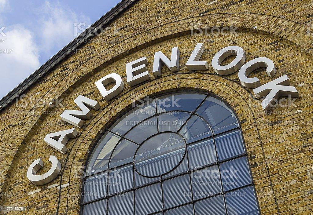 Closeup to a sign for Camden Lock stock photo