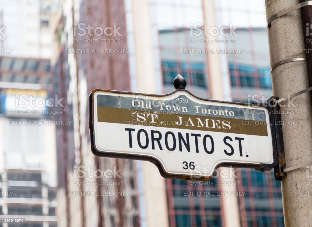 Closeup to a sign for Toronto Street in downtown Toronto stock photo