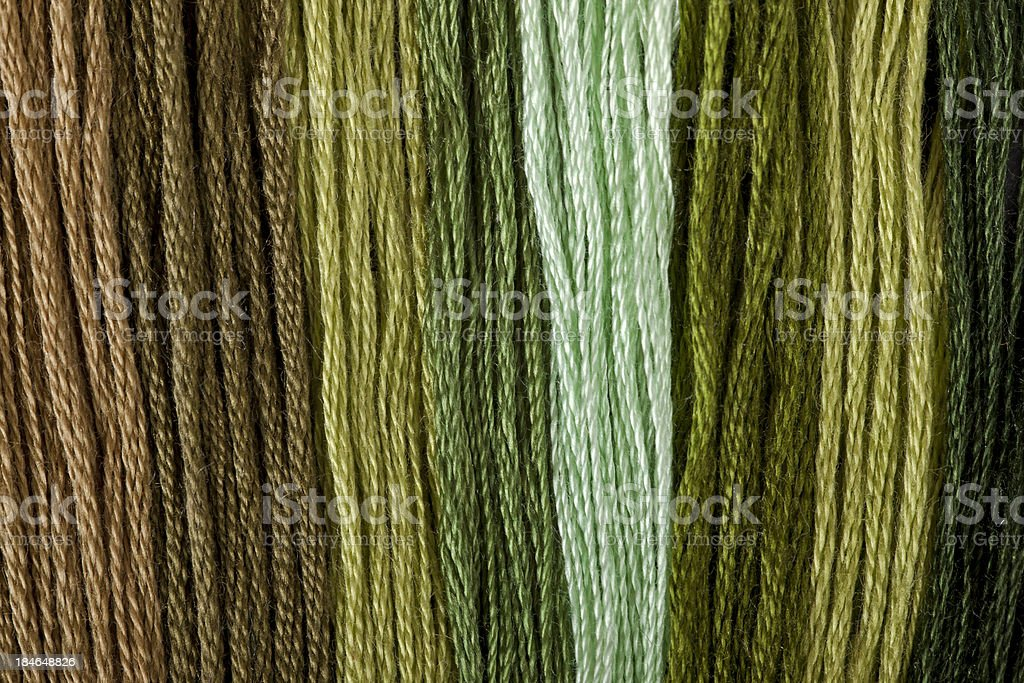 Close-up To Colorful  Threads In Green royalty-free stock photo