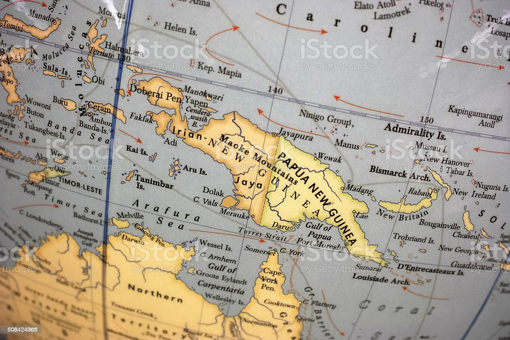 Close-Up To Papua New Guinea On World Map stock photo