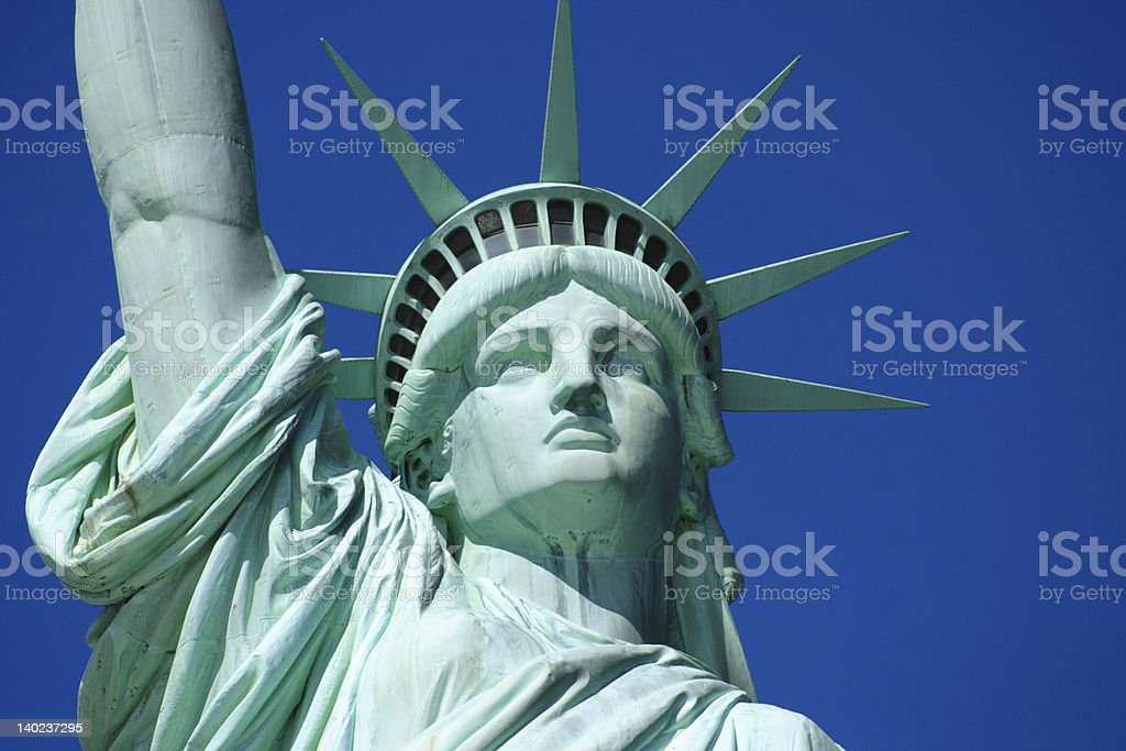 Close-up to the face of the Statue of Liberty royalty-free stock photo
