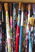 Close-Up To Used Artist Paintbrushes