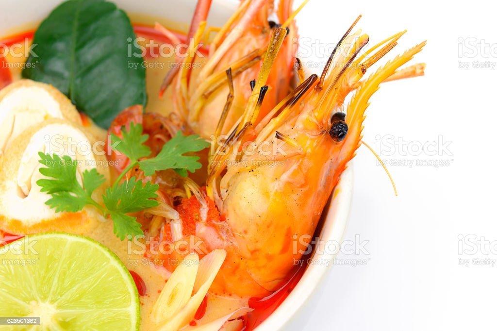 Closeup Tom Yum Soup stock photo