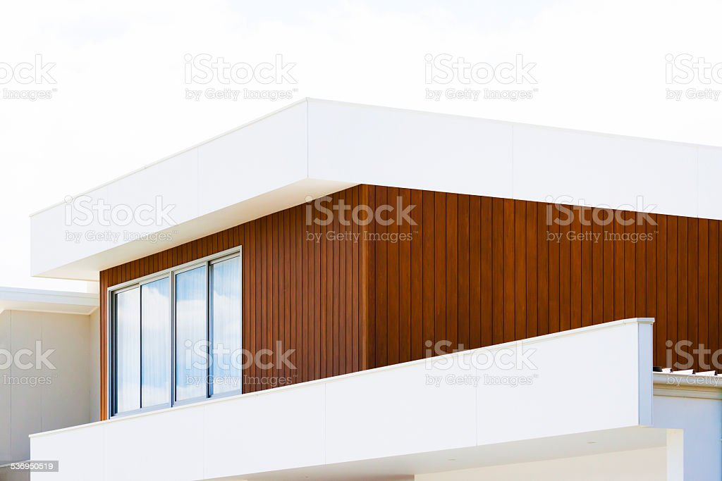 Closeup top part of contemporary new house with copy space stock photo