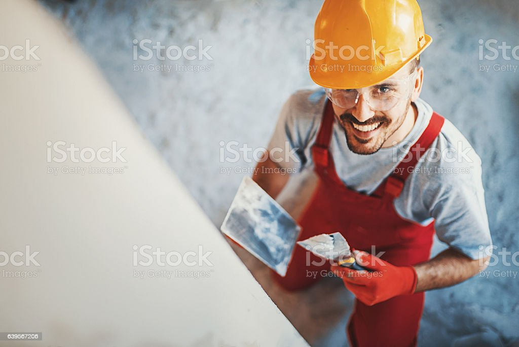 Closeup top view of a construction worker. stock photo