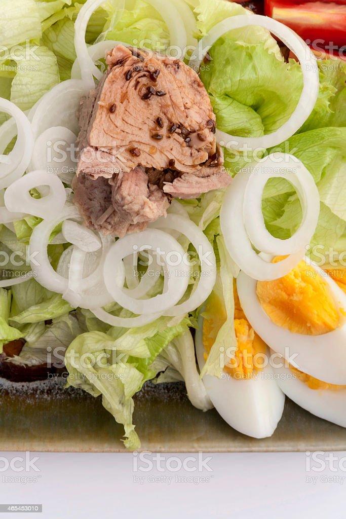 Closeup Tuna salad with eggs royalty-free stock photo