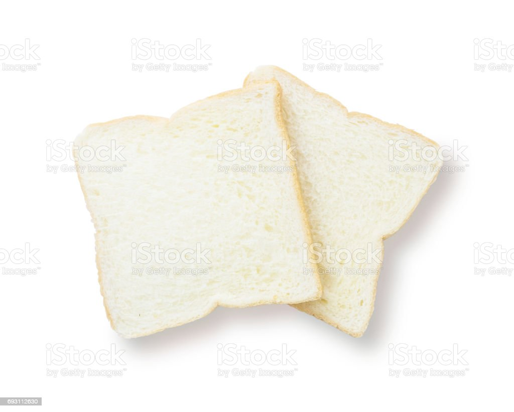 Closeup two slice bread for breakfast with shadow isolated on white background stock photo