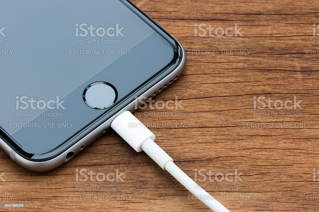 closeup usb cable data connect to iphone 6 stock photo